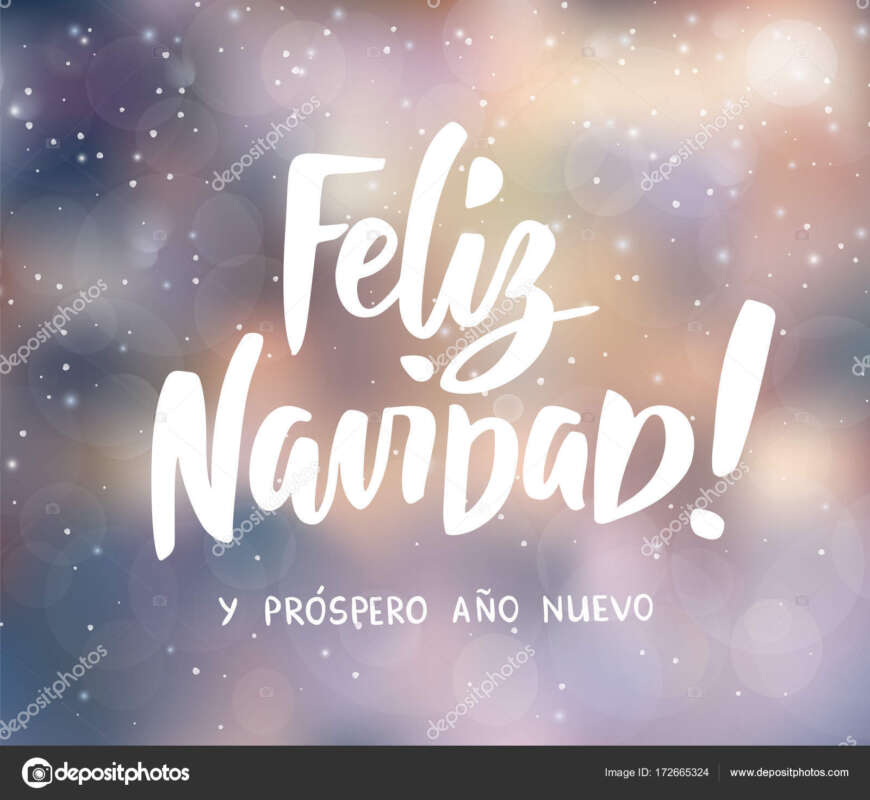 feliz navidad y prospero ano nuevo spanish merry christmas and happy new year text. holiday greetings quote. blurred winter background with falling snow effect