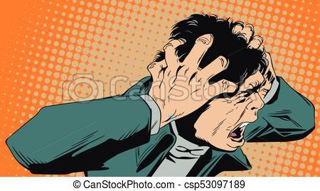 acción horror hombre gritos eps vectorial csp53097189