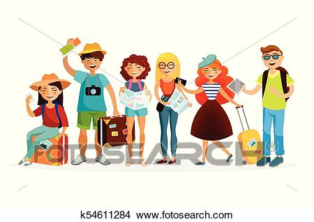 grupo de turistas caricatura clipart k54611284